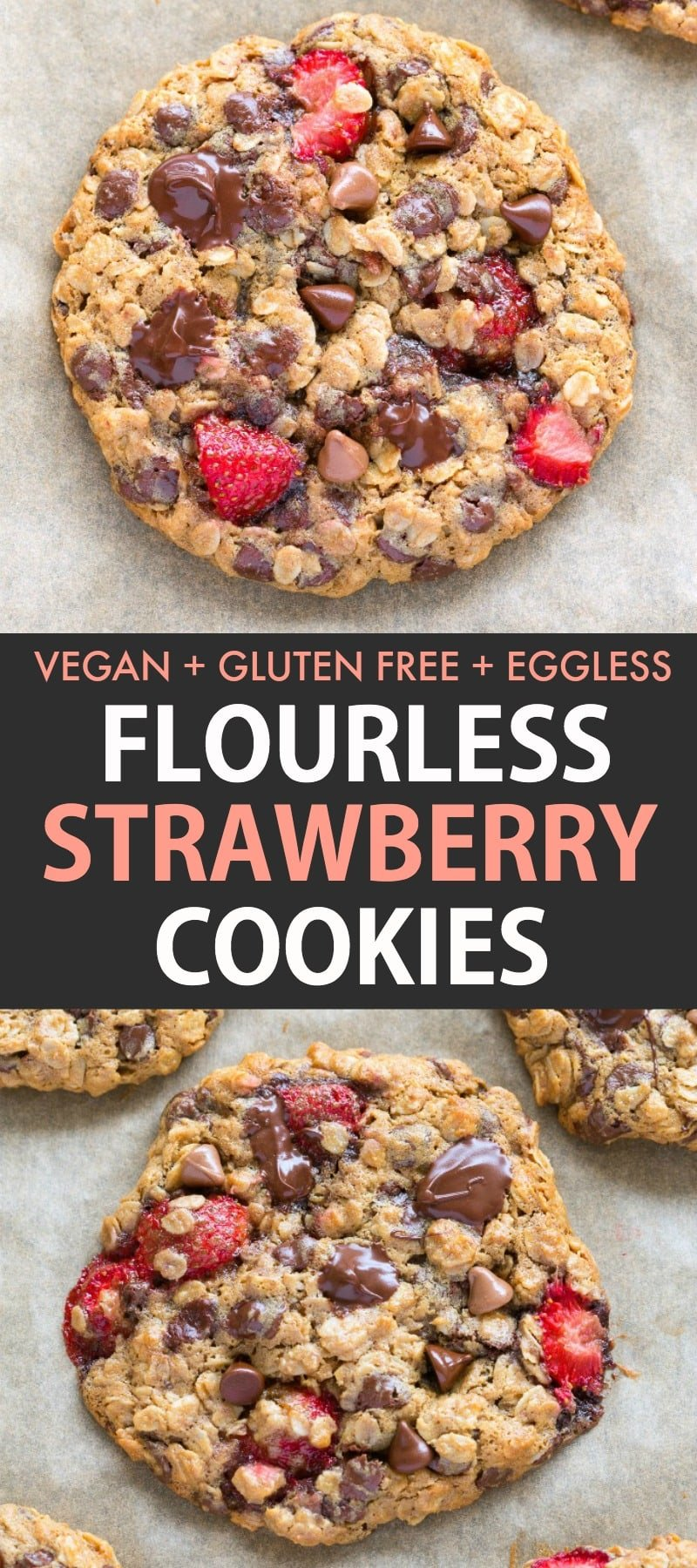 Soft and chewy strawberry chocolate chip cookies made with fresh strawberries and NO eggs! Delicious, chewy and with a keto and paleo option