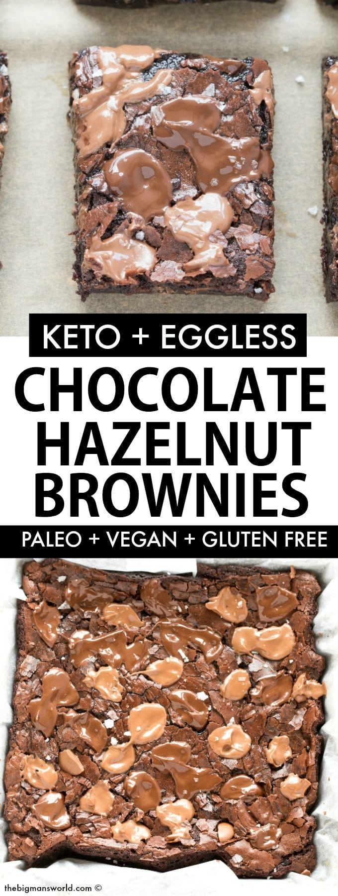 Healthy Chocolate Hazelnut Nutella Brownies that are paleo, vegan, keto and low carb- Eggless too!