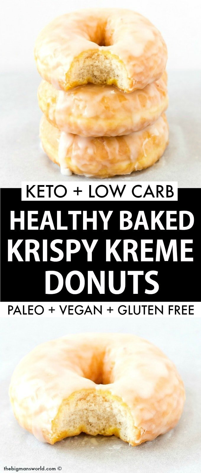 Healthy Paleo Vegan Baked Krispy Kreme Donuts Recipe topped with a sugar free glaze!