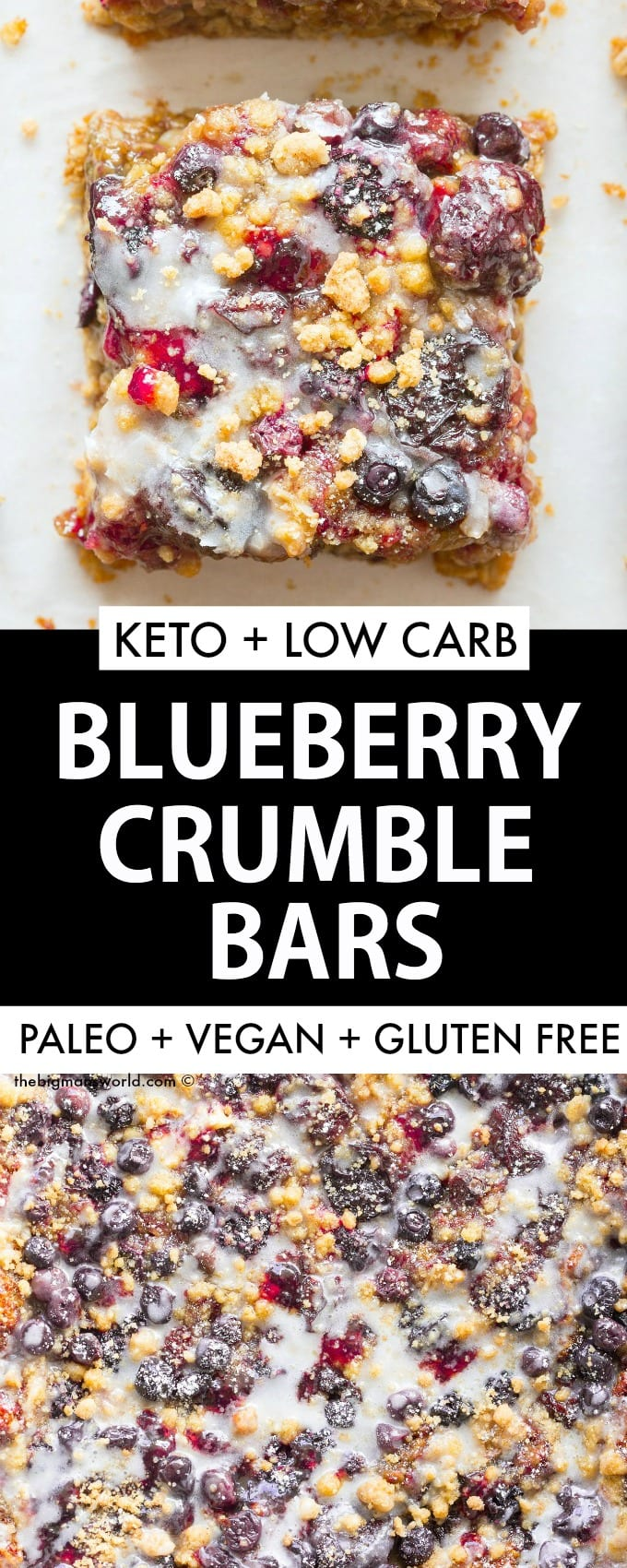 Easy homemade blueberry crumble bars recipe made without sugar and without oatmeal! Paleo, Vegan, gluten free and keto!