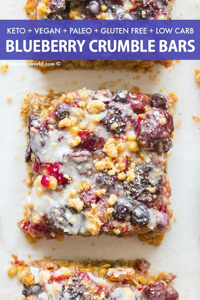 Healthy Blueberry Crumble Bars recipe made without oatmeal, without sugar and without cornstarch!