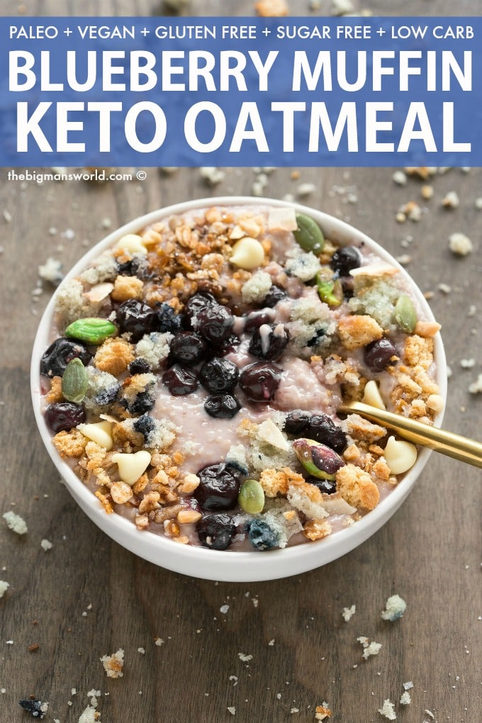 Keto Low Carb Blueberry overnight oatmeal recipe