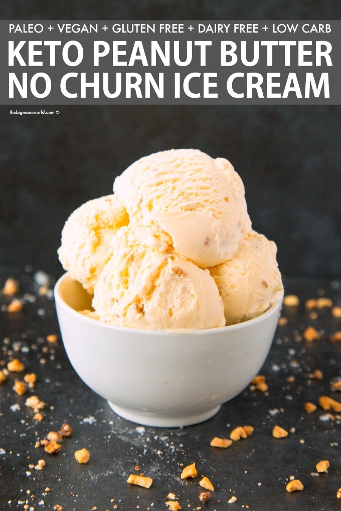 No Churn Keto Low Carb Peanut Butter Ice Cream Recipe