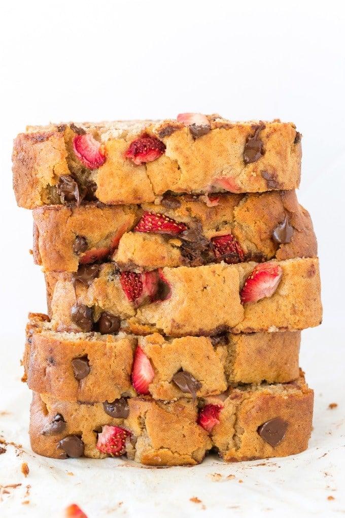 Moist easy healthy banana strawberry bread recipe
