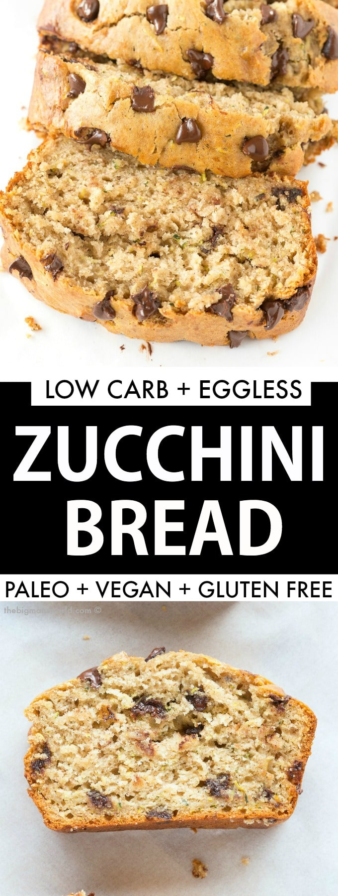 Easy gluten free, vegan and paleo healthy chocolate chip zucchini bread with bananas! Moist, tender and SO easy!