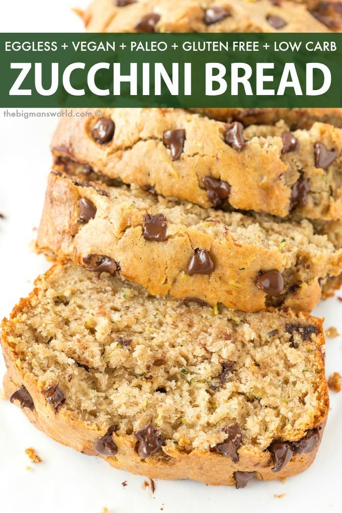 Easy healthy chocolate chip banana zucchini bread recipe that is vegan, gluten free and paleo.