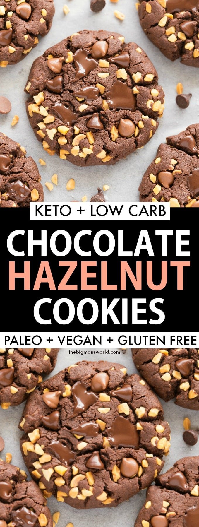 Paleo and Vegan Chocolate and Hazelnut Cookies recipe that are keto and low carb too!