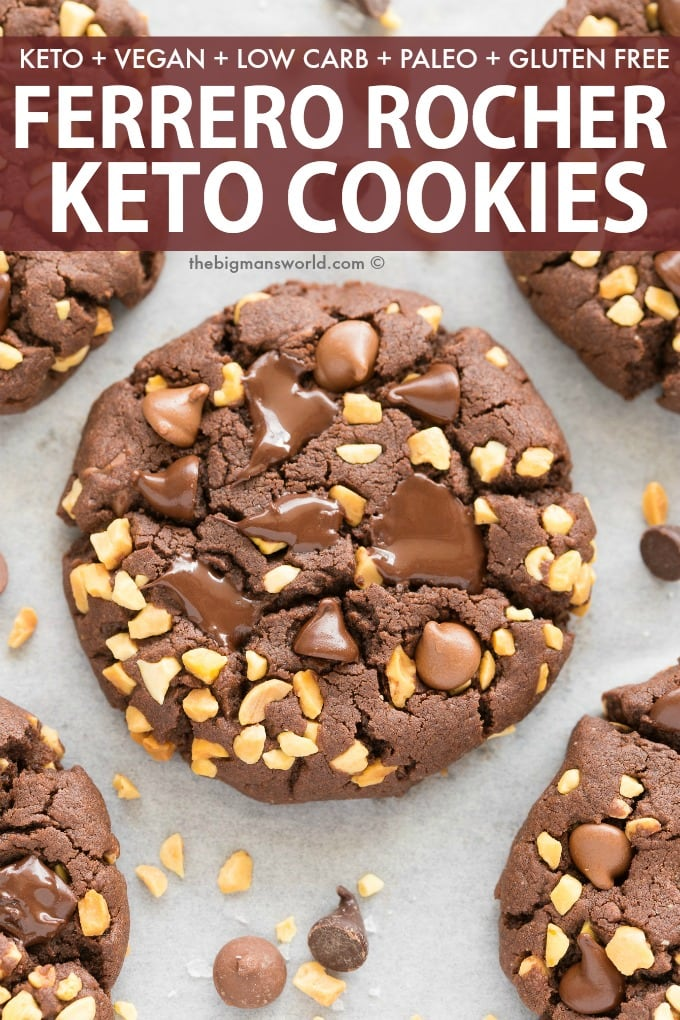 Healthy Paleo Vegan Chocolate Hazelnut Cookies that taste like a Ferrero Rocher!