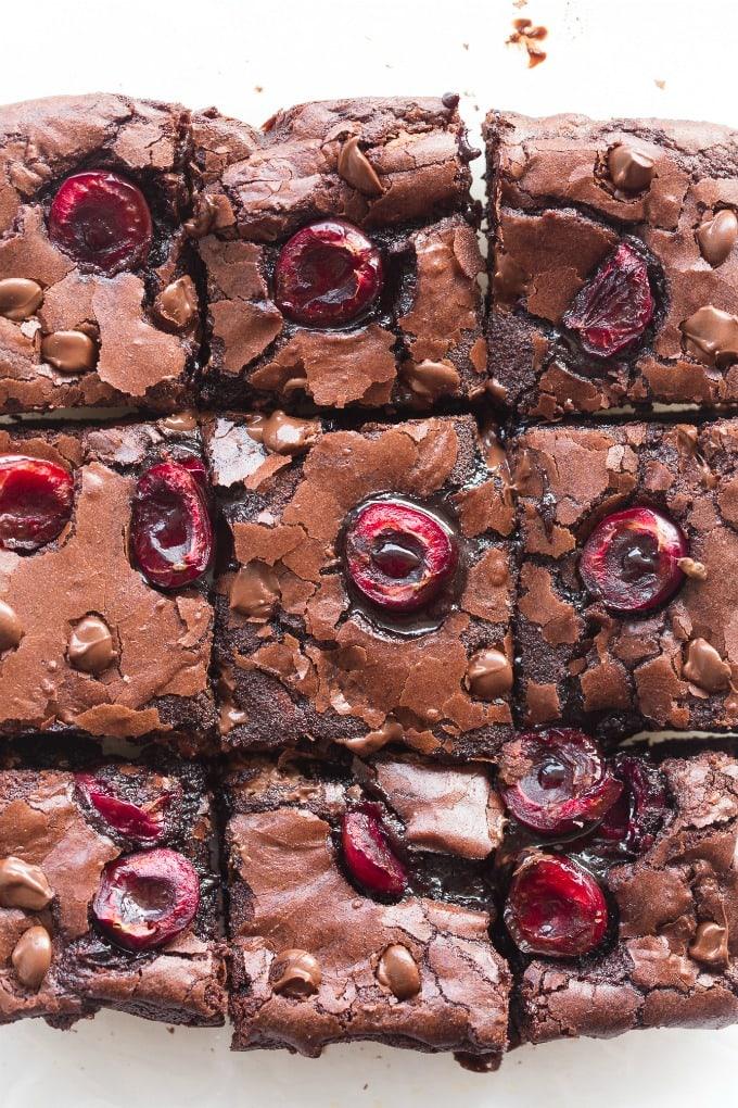 Gooey fudgy chocolate cherry vegan brownies recipe