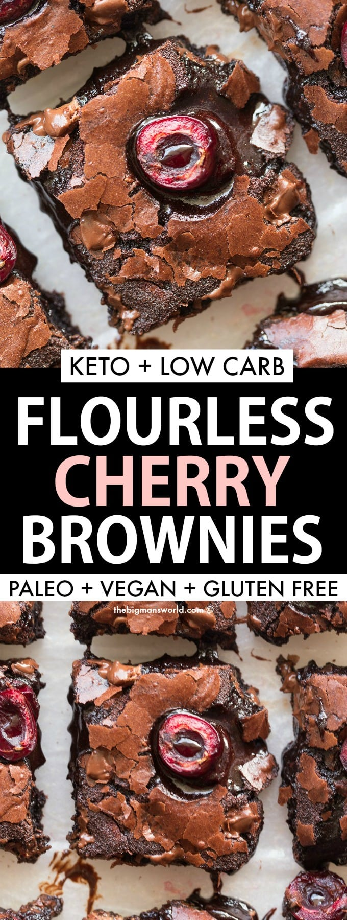 Gooey fudgy chocolate flourless brownies with cherries added in them- Keto and Low Carb