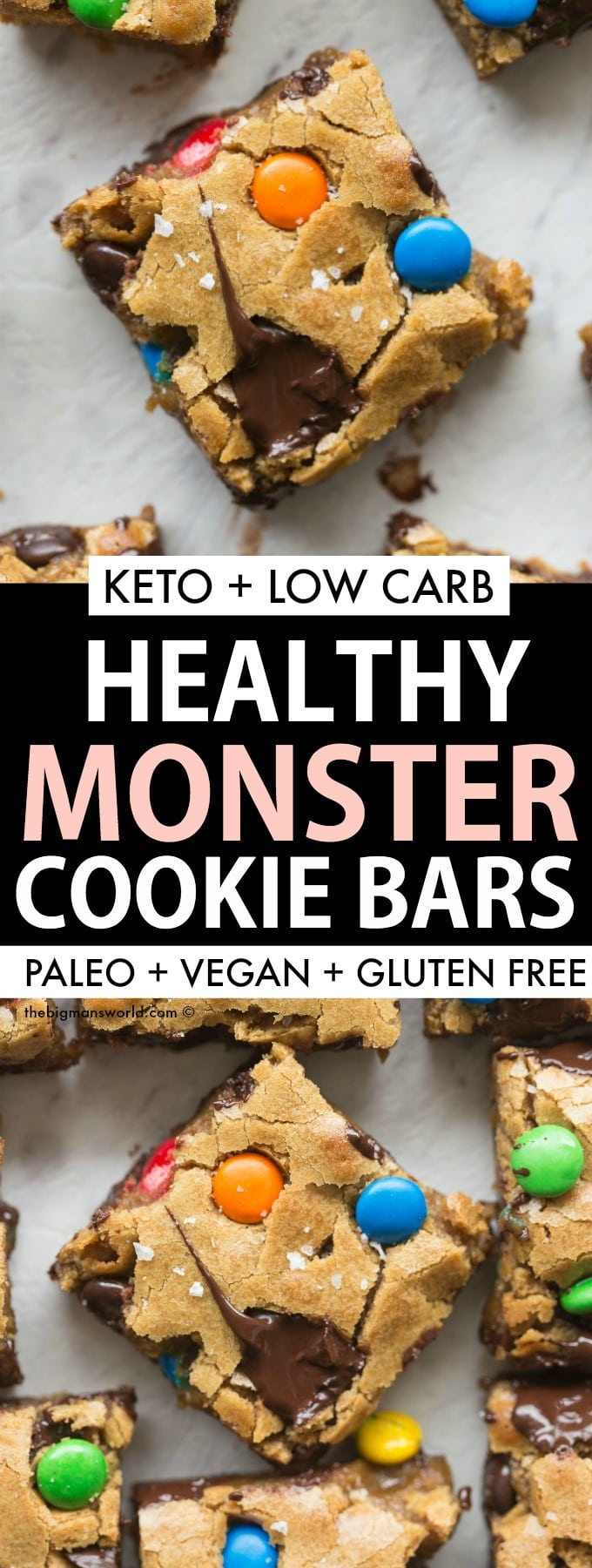 Healthy Monster Cookie Bars recipe with NO flour, NO peanut butter and NO sugar!