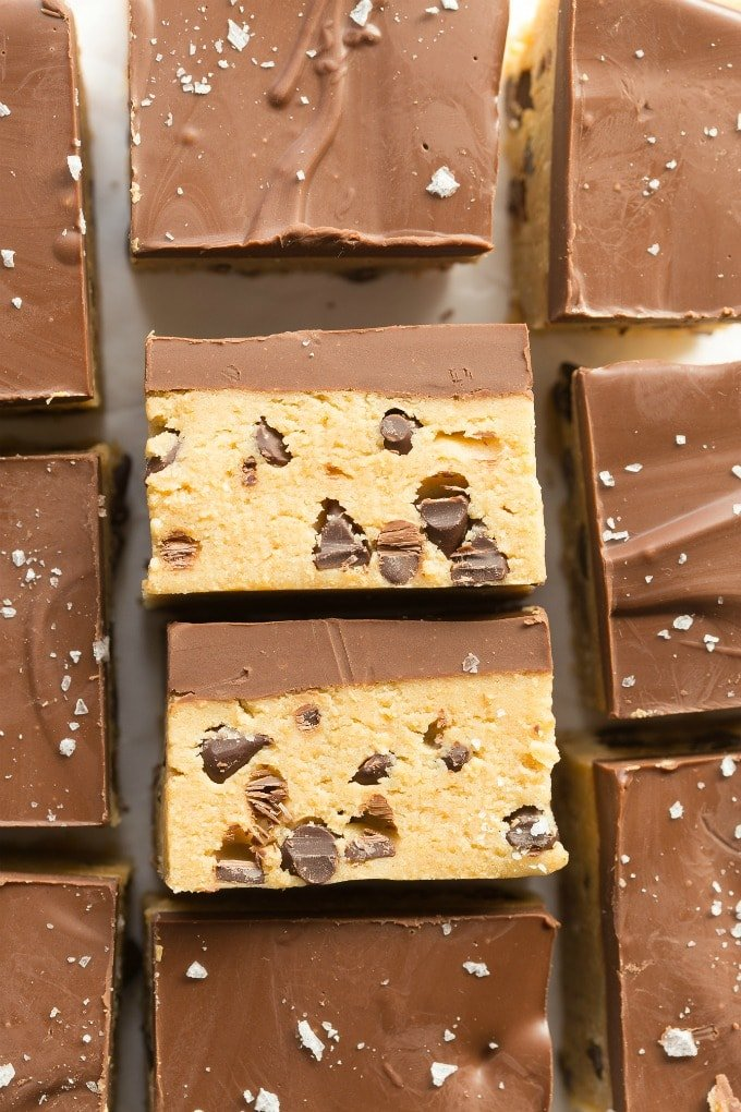 No Bake Chocolate Chip Cookie Dough Keto Vegan Bars Recipe