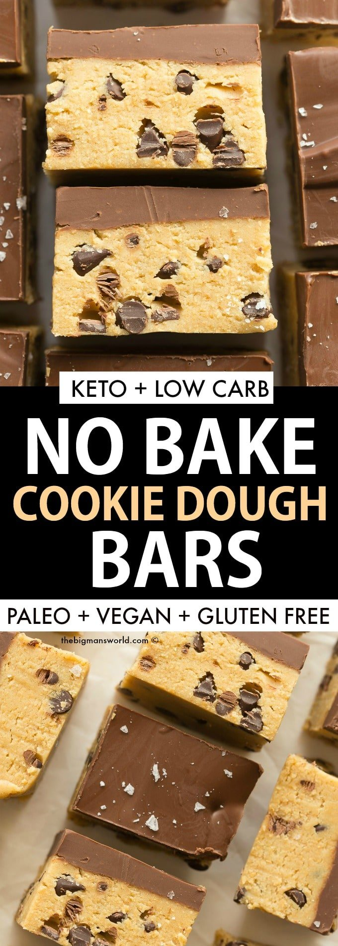 Keto No Bake Cookie Dough Bars with sugar free chocolate chips