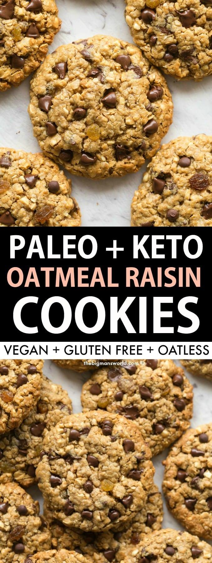 Easy paleo and keto oatmeal raisin cookies- Noatmeal cookies!