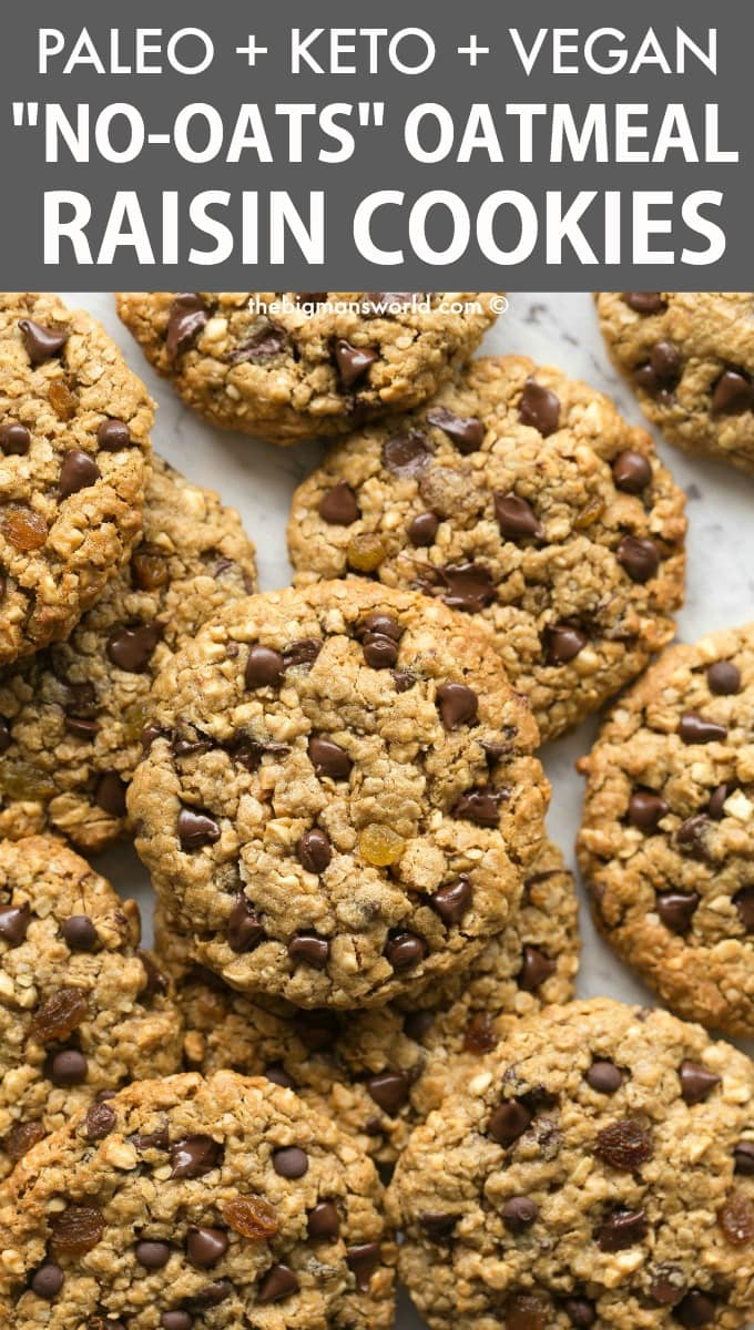 Soft and chewy paleo and keto oatmeal raisin cookies with no oatmeal and no oats!