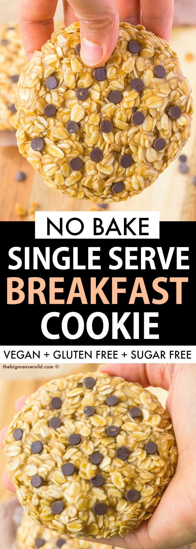 Easy single serving no bake gluten free and vegan breakfast cookie recipe