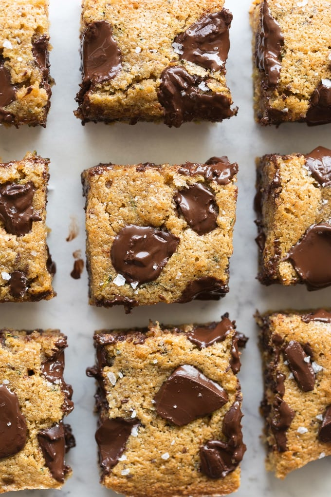 Healthy Zucchini Almond Butter Blondie Bars with chocolate chips recipe