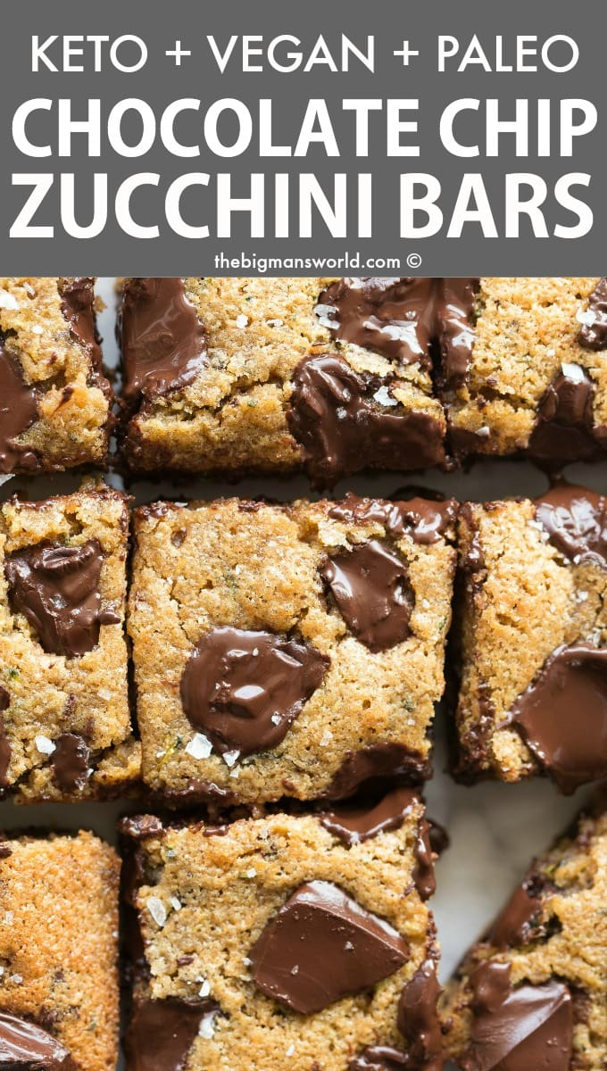 Easy and healthy zucchini bars recipe with chocolate chips
