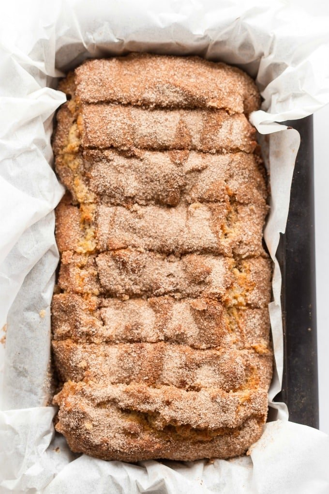 Paleo Vegan Cinnamon Swirl Banana Bread Recipe with a cinnamon crunch
