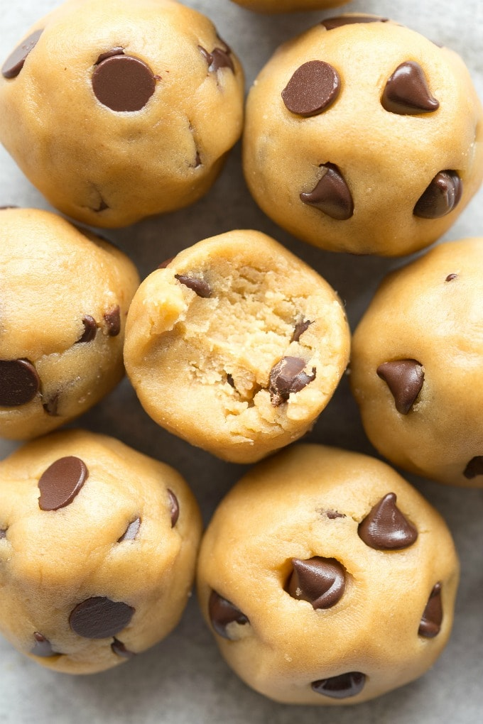 Healthy No Bake Chocolate Chip Cookie Dough Balls recipe