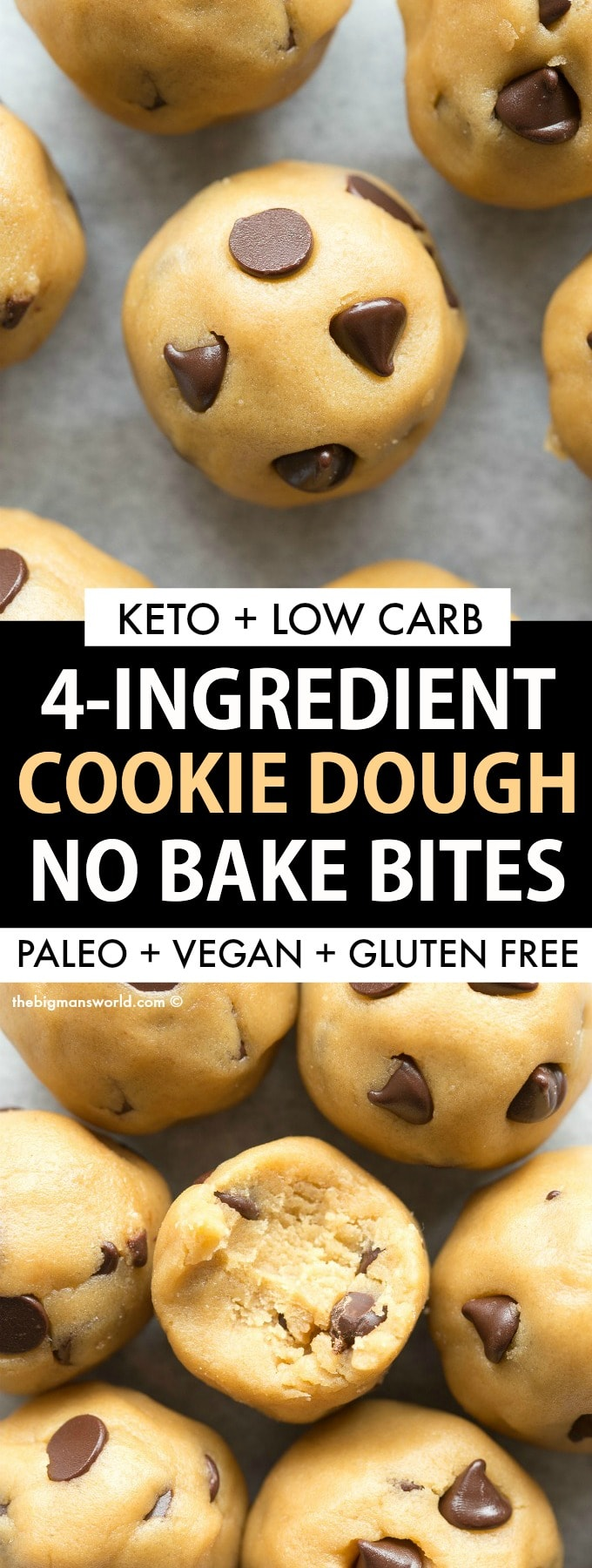 Paleo Vegan Keto No Bake Cookie Dough Bites Recipe