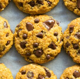 Keto vegan pumpkin breakfast cookies recipe with chocolate chips