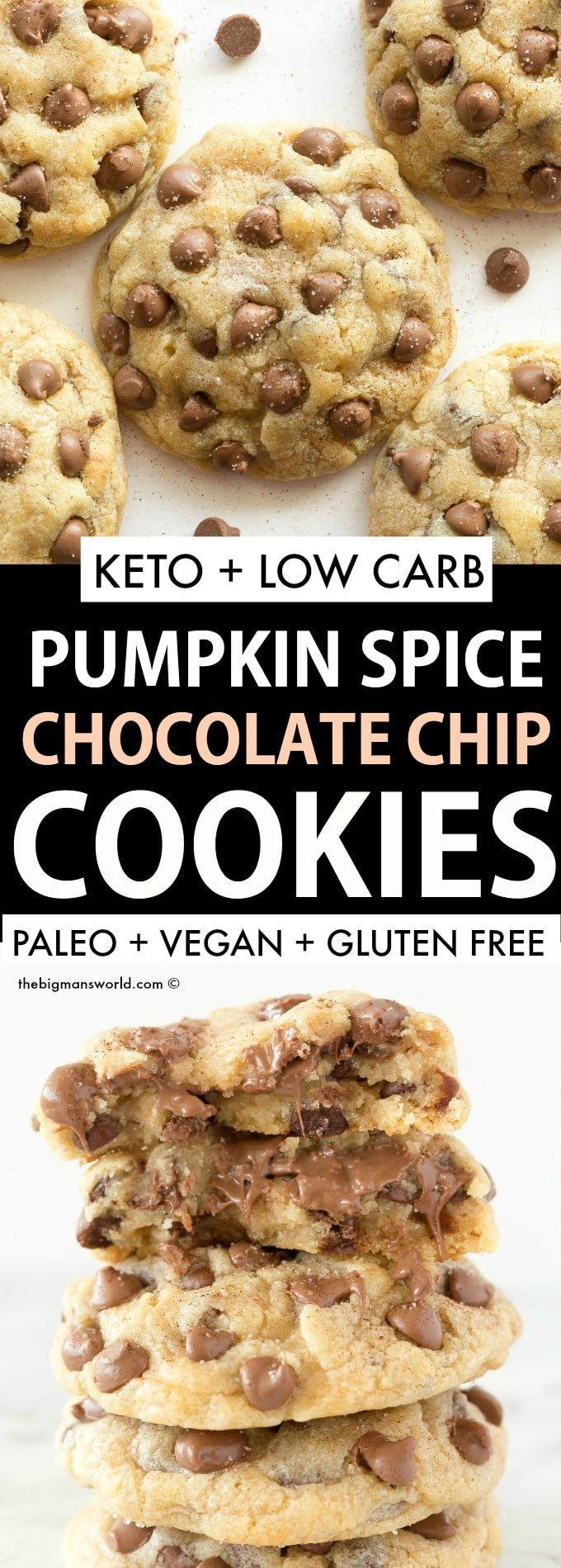 Keto Vegan Pumpkin Spice Chocolate Chip Cookies Recipe