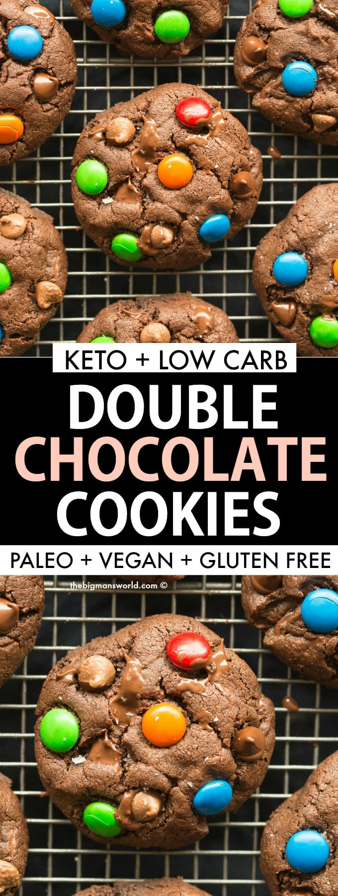 keto low carb double chocolate chip cookies recipe