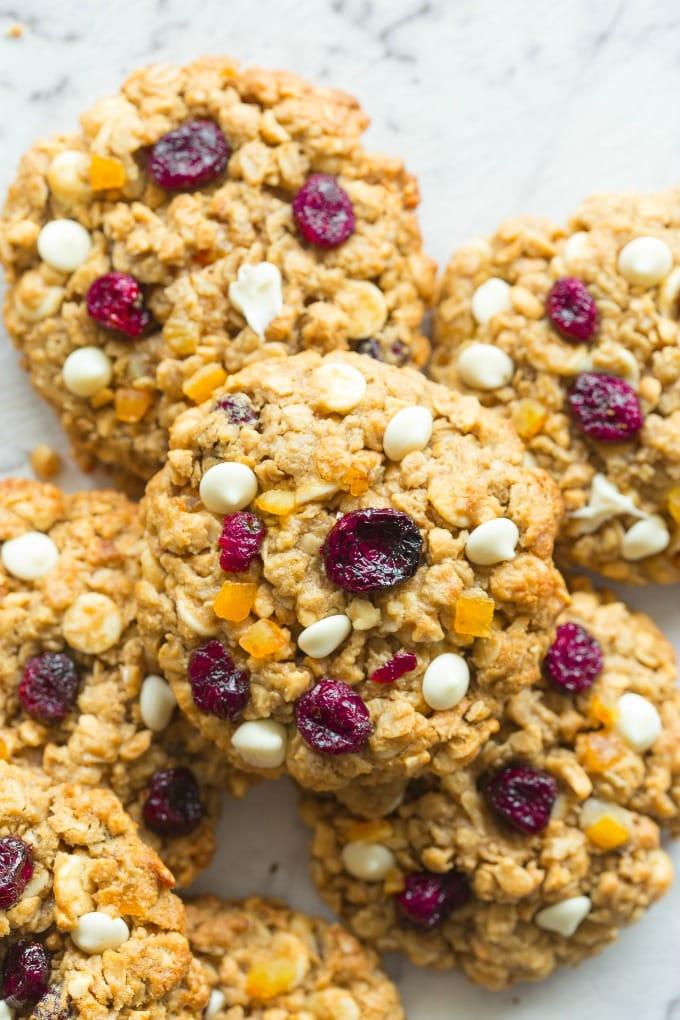 Healthy Cranberry Orange Oatmeal Cookies