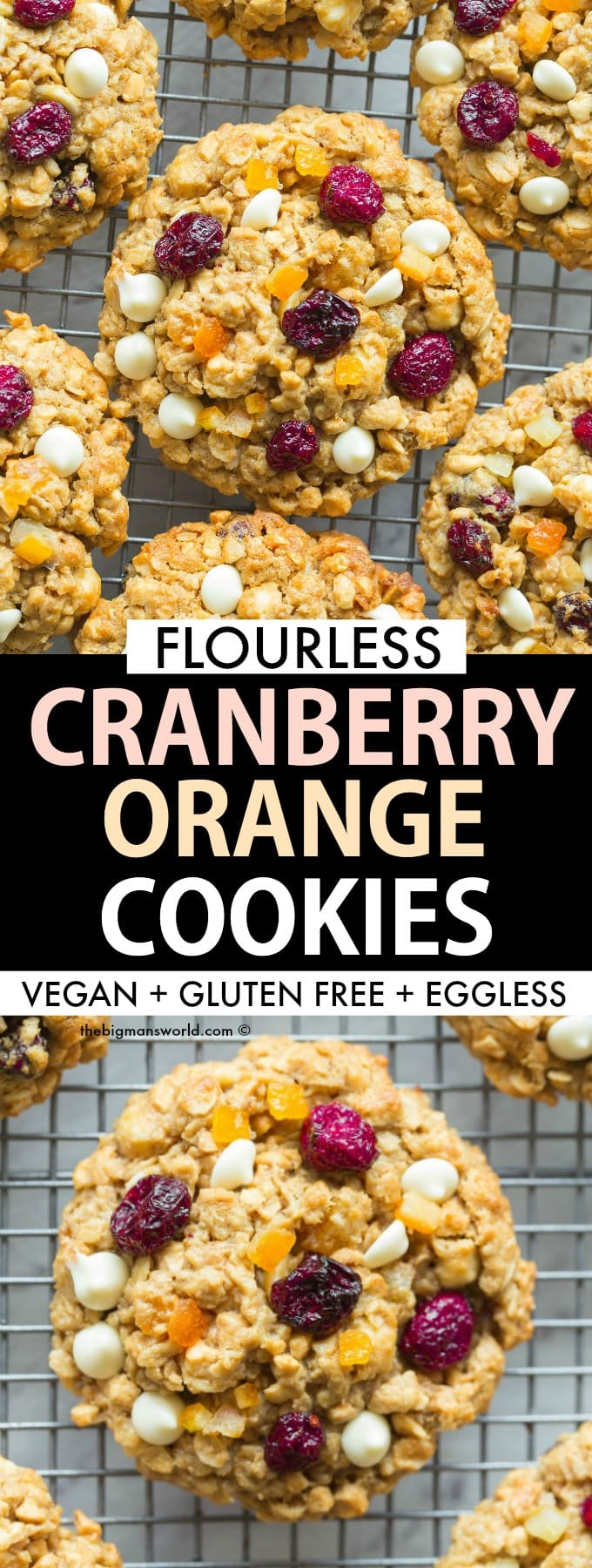 Healthy Flourless Oatmeal Cookies with cranberries and orange