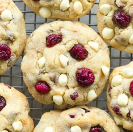 Low Carb Sugar Free Cranberry White Chocolate Chip Cookies