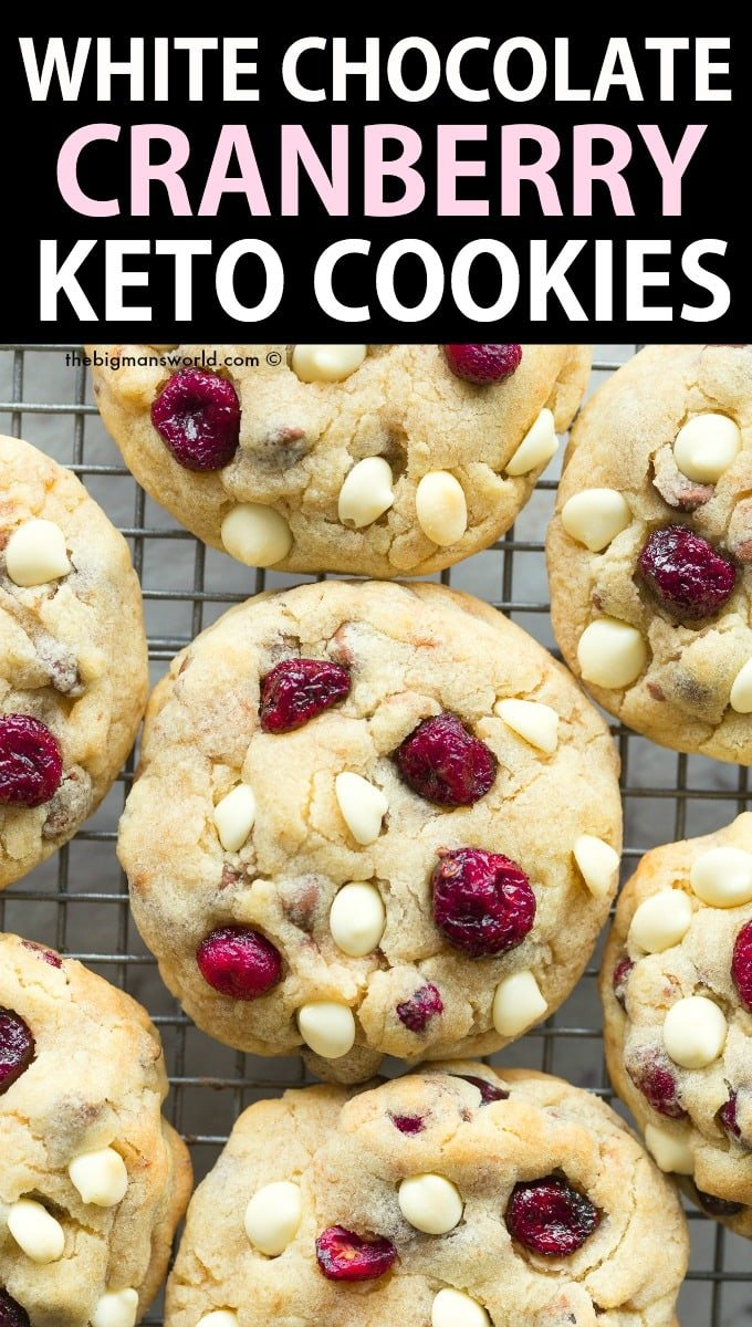 Keto White Chocolate Chip Cranberry Cookies Recipe