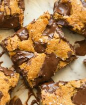 Paleo Vegan Pumpkin Chocolate Chip Blondies with sea salt on top