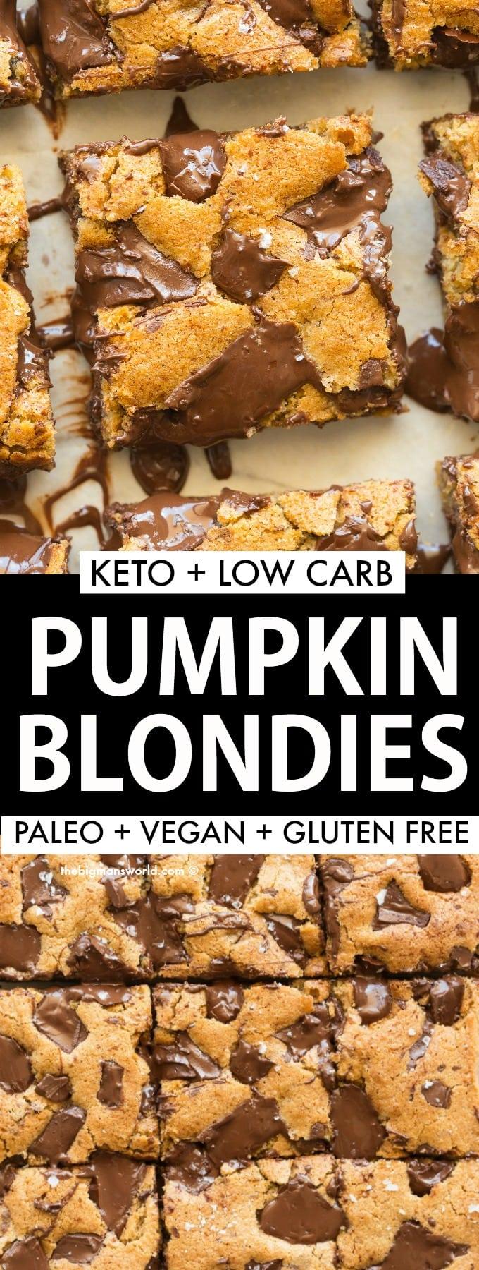Keto Vegan Pumpkin Blondies with chocolate chips