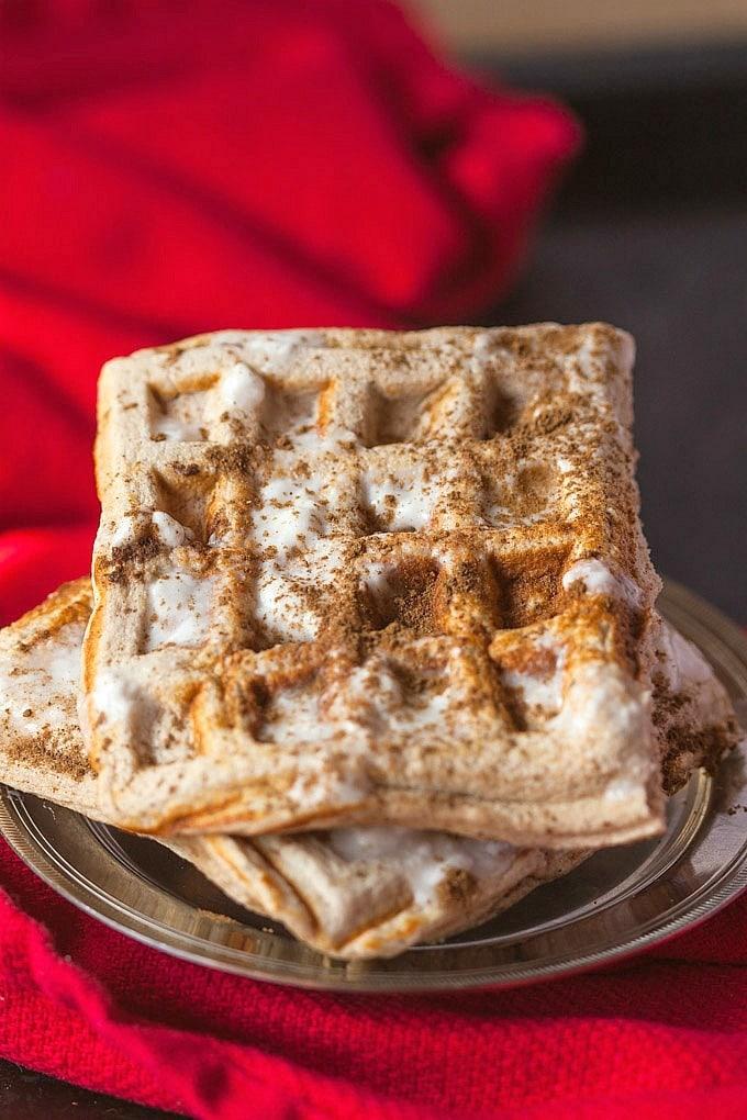 paleo vegan cinnamon roll waffles