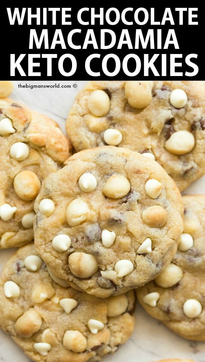 Keto white chocolate and macadamia nut cookies