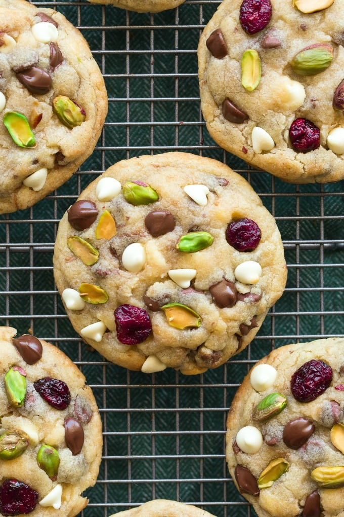 easy cranberry pistachio white chocolate chip keto cookies