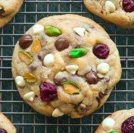 Keto Cranberry Pistachio White Chocolate Cookies