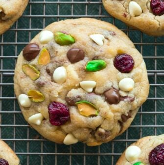 Keto Cranberry Pistachio White Chocolate Cookies