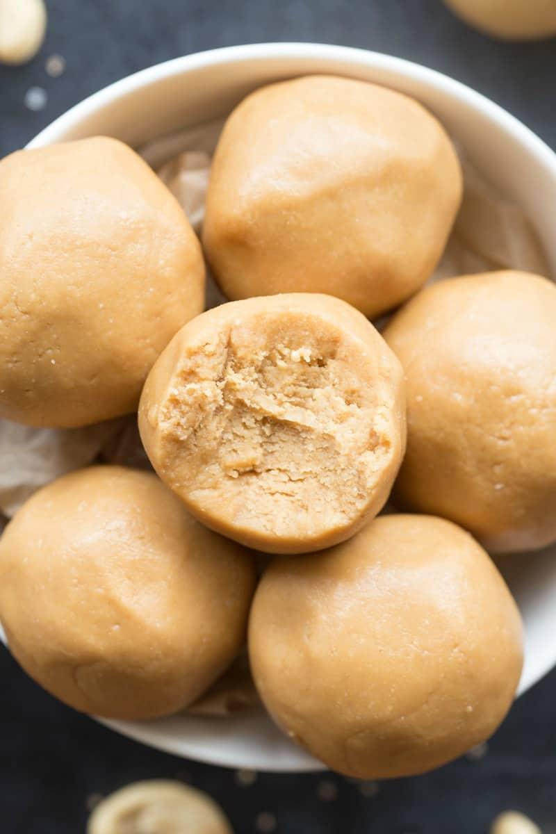 cashew butter keto energy balls