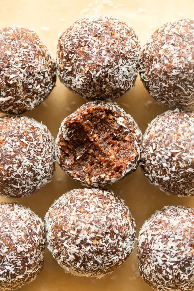coconut chocolate date energy balls