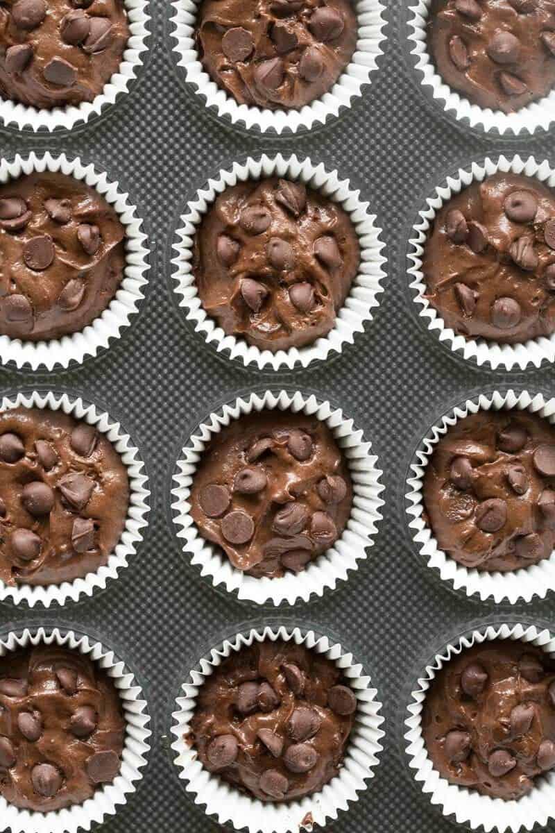 Keto chocolate muffins in a muffin tin