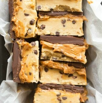 Keto Cookie Bars with salted caramel