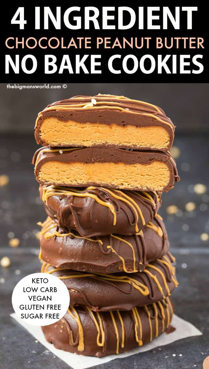 Keto Chocolate Peanut Butter No Bake Cookies