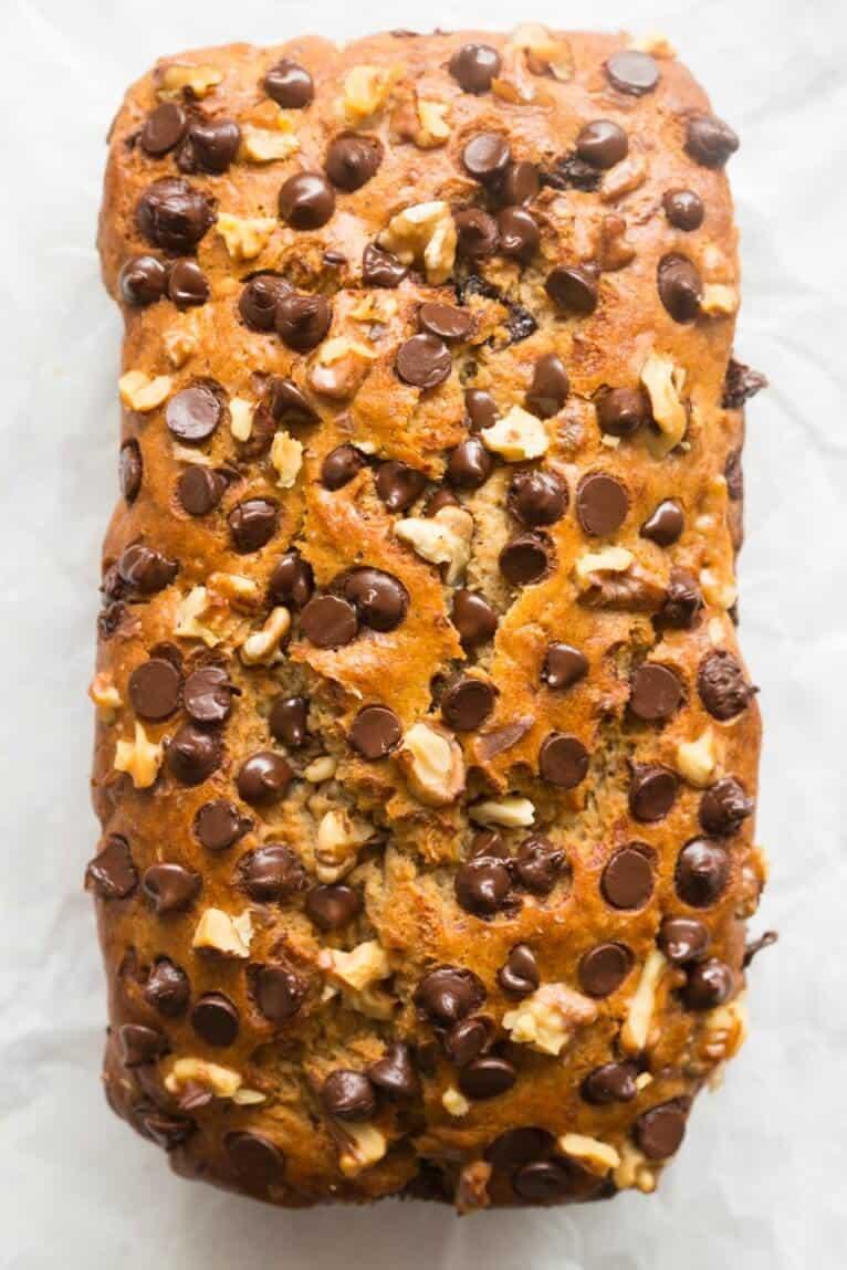 vegan banana chocolate chip bread