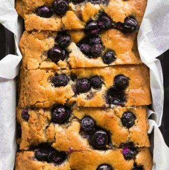 gluten free vegan blueberry banana bread