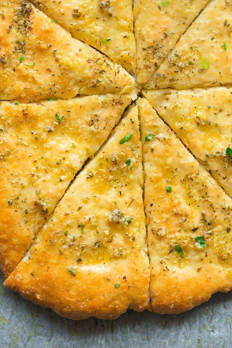 2 ingredient dough garlic bread pizza