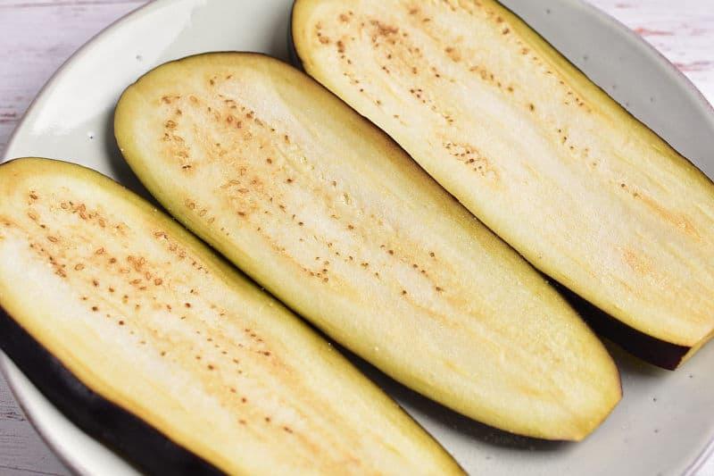 salted sliced eggplant