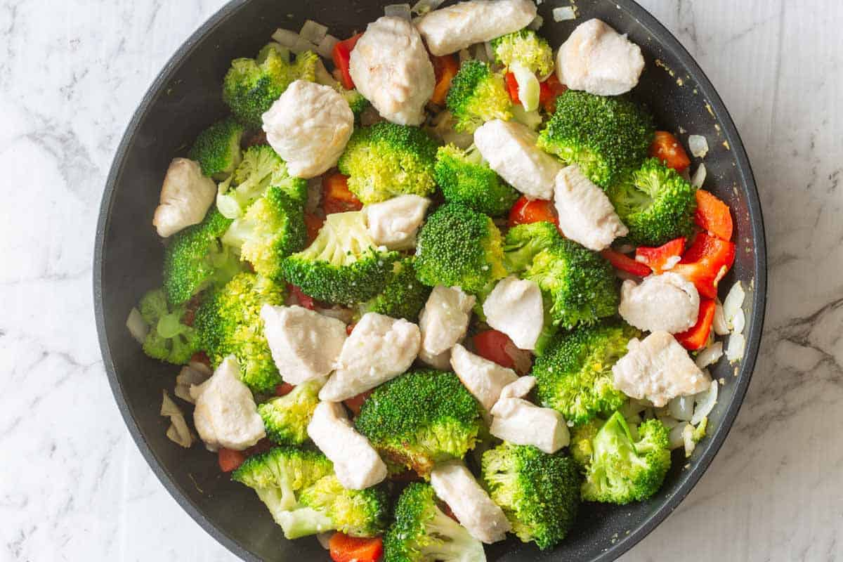 chicken and vegetables in a pan